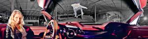 Skateboard jump over a car in panoramic photography