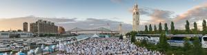 Diner en Blanc of Montreal 2015 at The Sailor�s clock tower in Old Montreal
