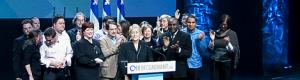 Pauline Marois on election night in Quebec in 2008
