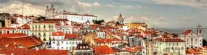 Panoramic view from the quarter of Alfama in Lisbon, Portugal