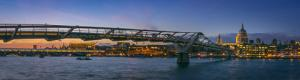 Millennium Bridge and River Thames in London Panorama